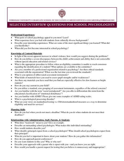 Resume For Graduate School Internship Resume Exle School Psychologist Resume Sle School Psychologist Resume Sles School