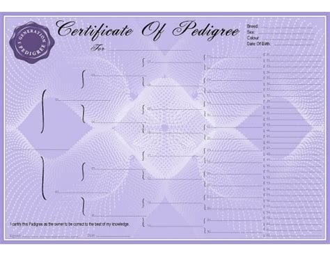 blank lilac pedigree certificates pedigree forms