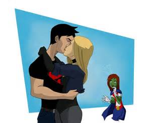Superboy and black canary kiss updated young justice fan art