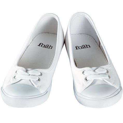 faith white canvas flat plimsoles ballet pumps