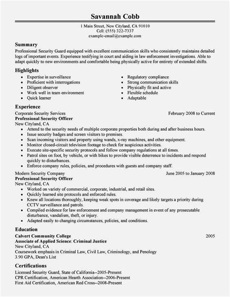 cv format for security guard resume template cover letter