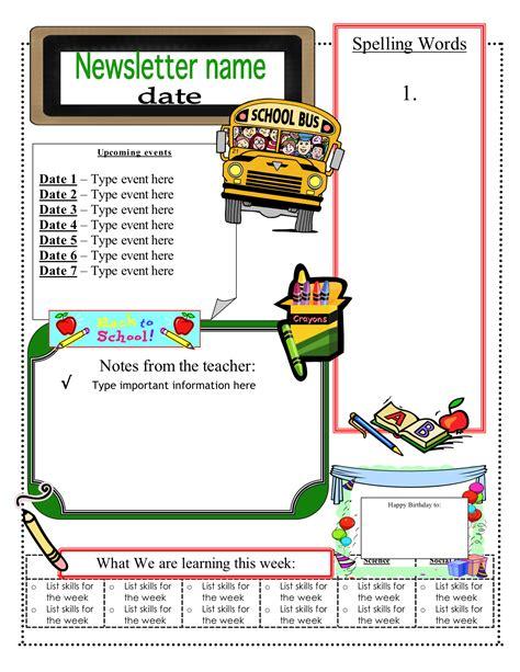 free elementary school newsletter template free school newsletter templates unique free classroom