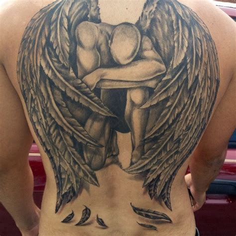 angel tattoo at the back grey ink fallen angel tattoo on full back tattooshunt com