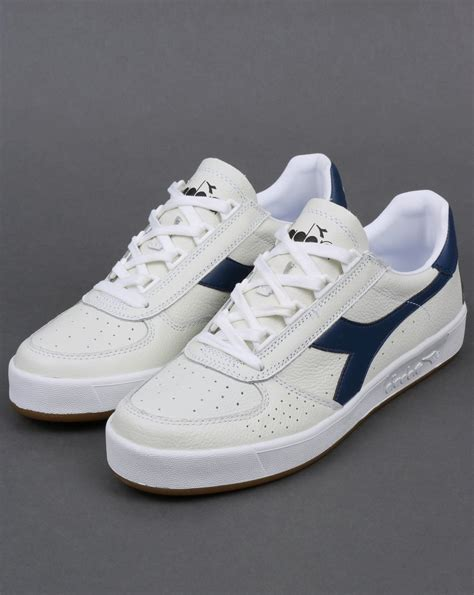 navy and white l diadora borg elite l trainers white navy leather borg shoes