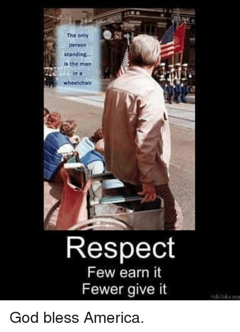 Merica Wheelchair Meme - the only person standing is the man n a wheelchair respect