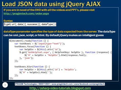 tutorial jquery ajax json sql server net and c video tutorial load json data