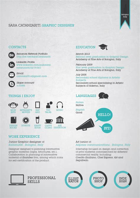 Cv Resume Design Inspiration | 55 amazing graphic design resume templates to win jobs