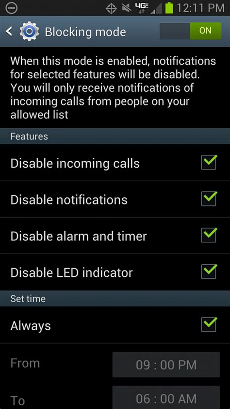 enable blocking mode  verizons galaxy note  droid life