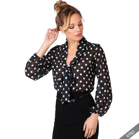 Pb8 Polkadot Blouse retro polka dot pleated bow tie chiffon blouse top button shirt work ebay