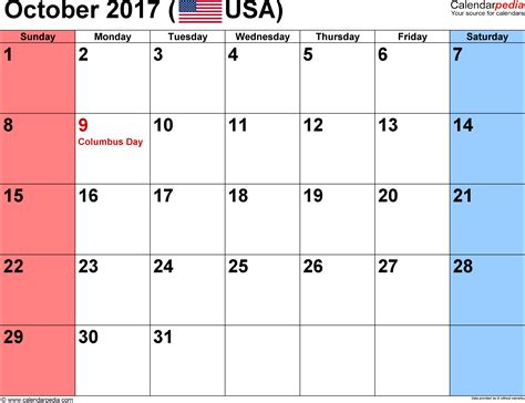 Calendar October 2017 Template Word October 2017 Calendar Word Weekly Calendar Template