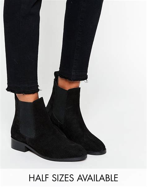 asos attribute suede chelsea ankle boots black suede 163 30