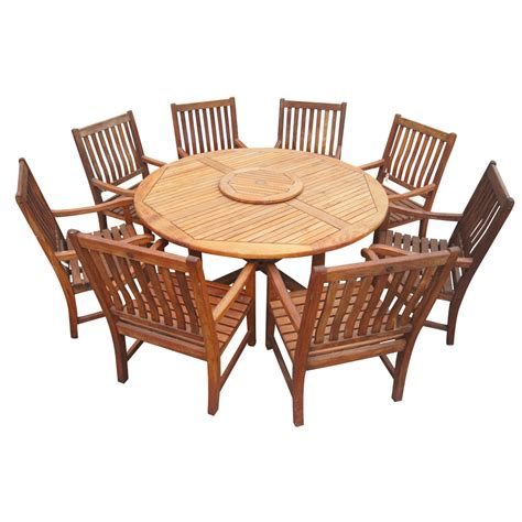 round outdoor dining table 6ft vintage nauteak round outdoor dining table