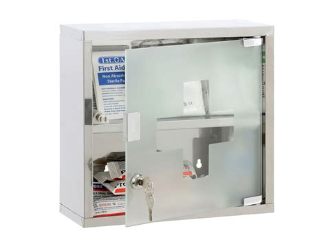 MEDICINE CABINET S/STEEL WALL MOUNTED LOCKABLE FIRST AID