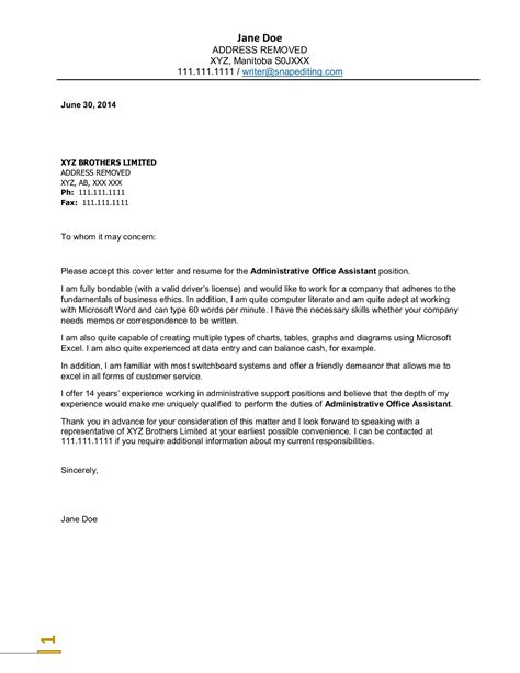 unique cover letter cover letter for a administrative assistant