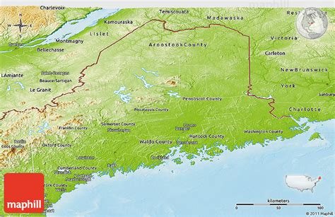 physical map of maine physical panoramic map of maine