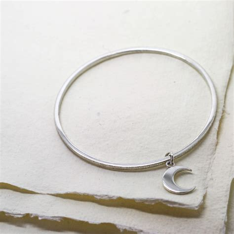 Handmade Silver Bangles Uk - handmade sterling silver crescent moon charm bangle by