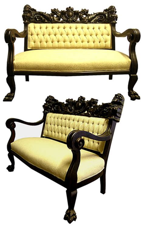 ori furniture cost antique 5 piece mahogany parlour set with carved women and