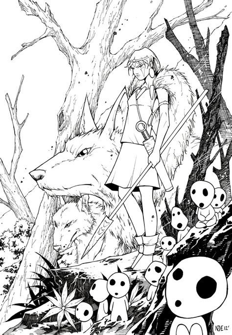 Princess Mononoke 2012 By Olivernome On Deviantart Princess Mononoke Coloring Pages Free Coloring Sheets