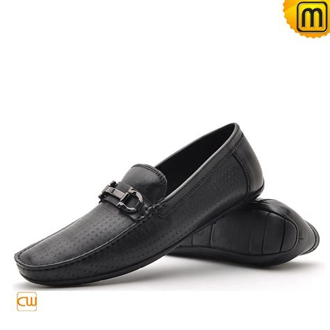 black loafers mens black leather driving loafers cw712395