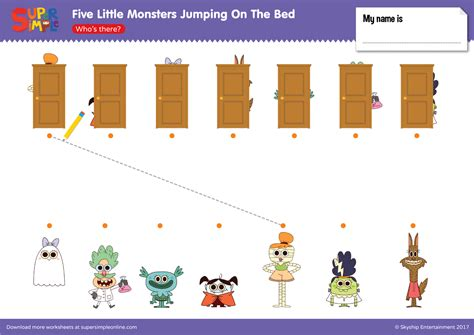 monsters jumping on the bed five little monsters jumping on the bed who s there