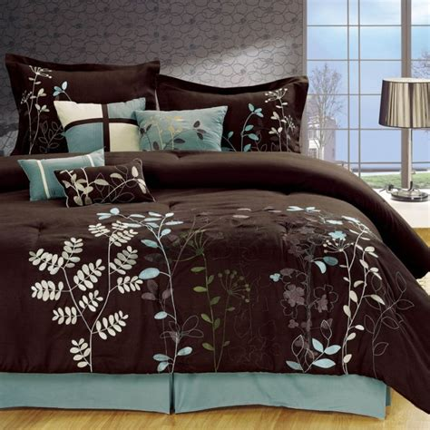 full queen bedroom sets 8 piece queen set bobs furniture a light blue and brown bedding bliss garden 8 piece brown