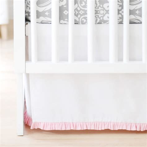 Simple Crib Bedding by Sweet And Simple Crib Bedding Set In White With Pink Ruffle