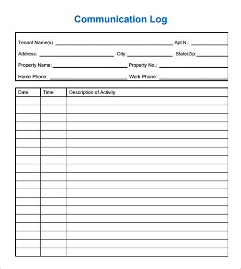 communication log template 8 free pdf doc download