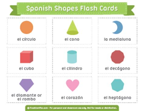 printable spanish shapes flash cards printable flash cards page 5