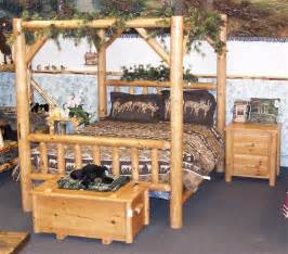 pine log bedroom furniture amish rustic pine log canopy bed