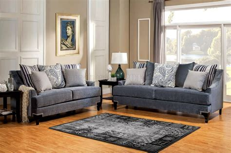 slate blue couch vincenzo sm2204 sofa in slate blue fabric w options