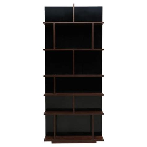 buy genoa shelving unit walnut effect black gloss from