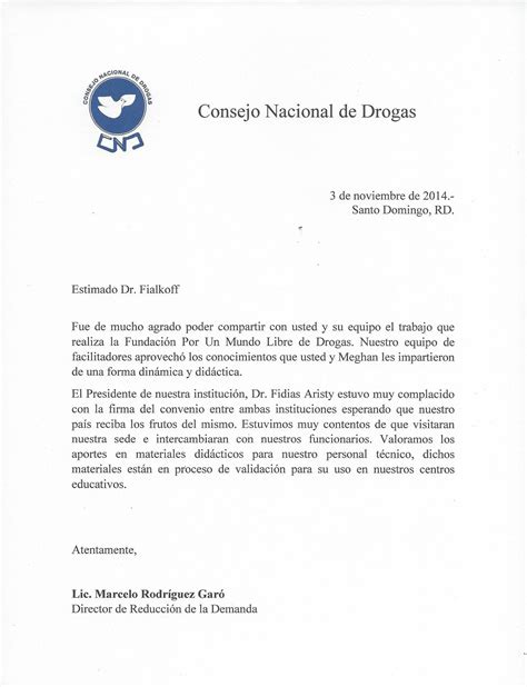 Thank You Letter For Dental Office National Council On Drugs Letter Of Acknowledgement To Dr