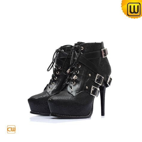 black high heels leather boots cw309112