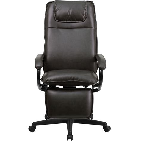 Reclining Back Chair Ergonomic Home High Back Brown Leather Executive Reclining