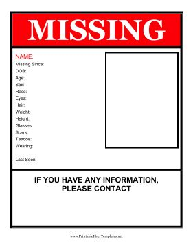 printable missing poster missing person flyer
