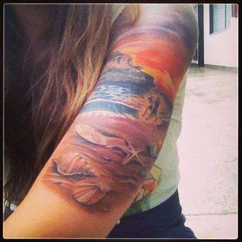 beach scene tattoo designs with shells ideas tattoos sleeve