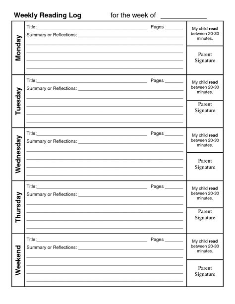 printable monthly reading log with parent signature free printable reading logs with parent signature free