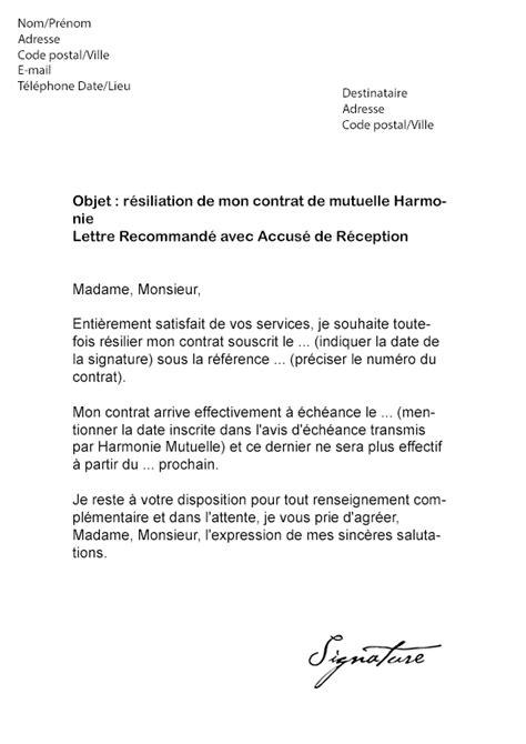 Lettre De R Siliation Urssaf modele courrier resiliation mutuelle obligatoire
