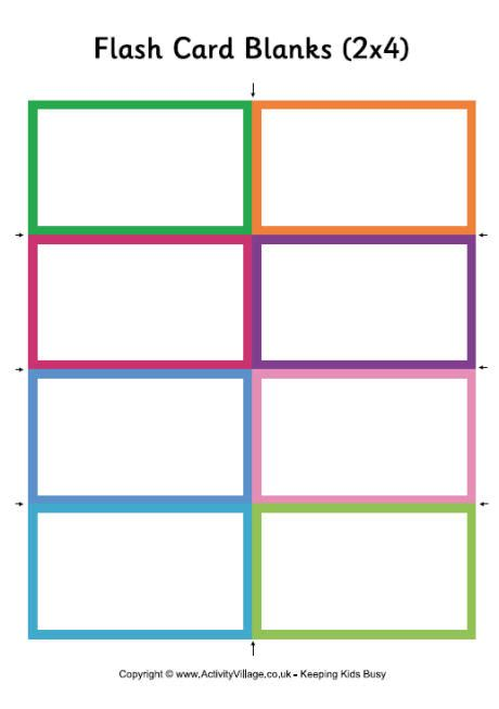 snap card templates blank flash cards small