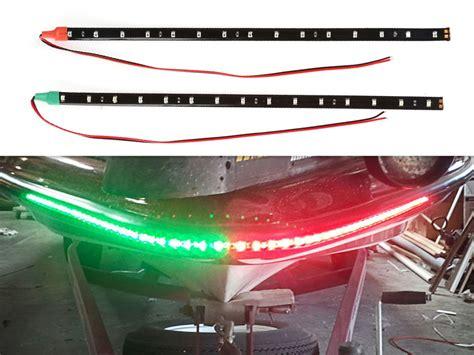 set of 2 bow led navigation marine light kit green