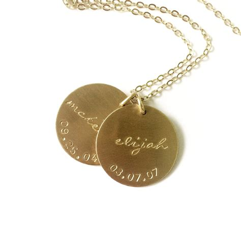 custom name necklace 1 2 or 3 large disc personalized