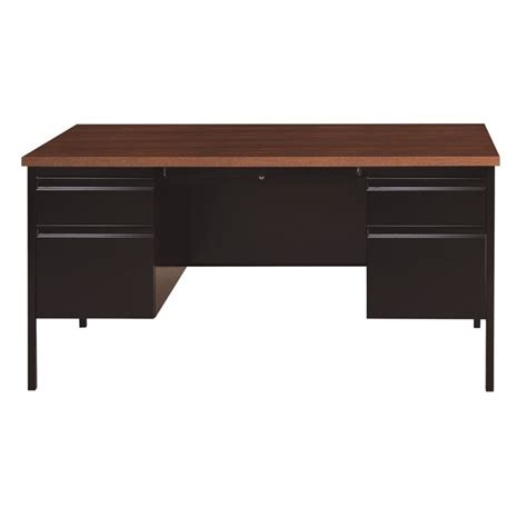 Pedestal Computer Desk Pedestal Computer Desk In Black And Walnut 20101