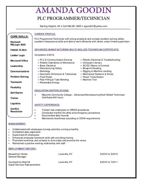 plc programmer resume format programming resume exles computer programmer resume