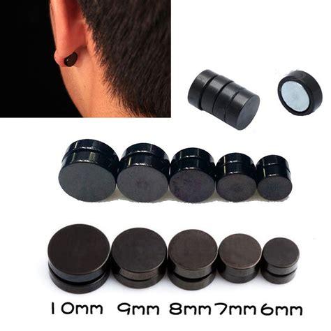 1pair black magnetic clip on ear stud earrings no