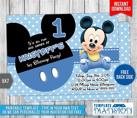 baby mickey mouse template baby mickey mouse birthday invitation by templatemansion