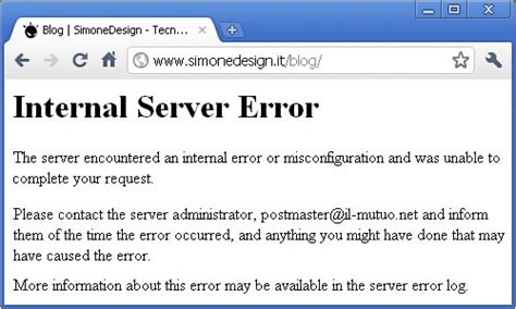 errore interno server errore 500 server error con