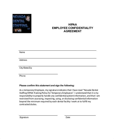 hipaa template forms employee confidentiality agreement 10 free word pdf
