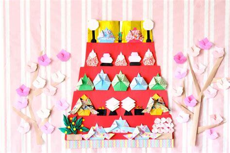 Hinamatsuri Origami - ひな祭りの折り紙 簡単 五段に並べる雛飾りの折り方まとめ