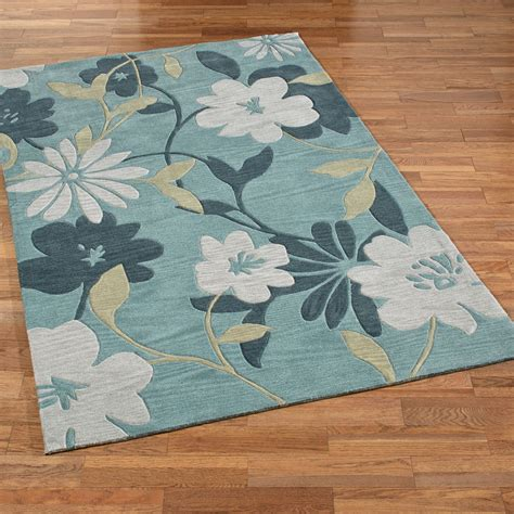 Botanical Area Rugs with Botanical Elegance Seafoam Floral Area Rugs