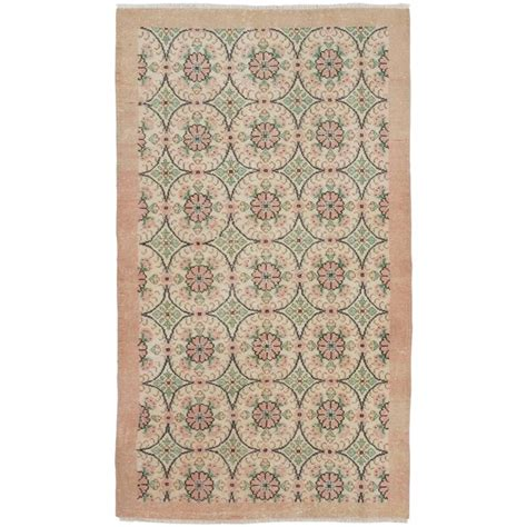 coral pink rug floral mid century anatolian rug in soft coral pink and green colors for sale at 1stdibs